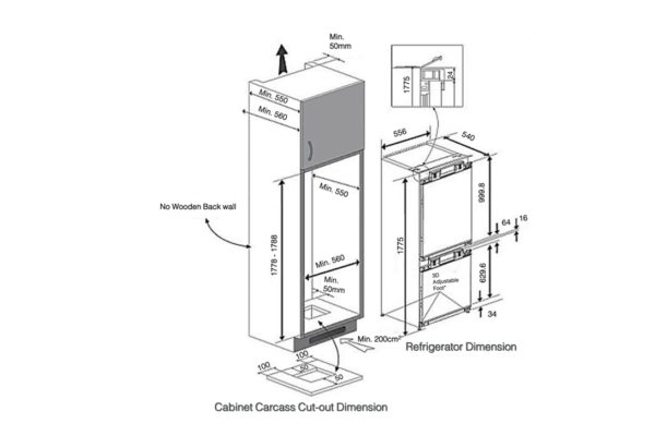JR300NF – Built In Refrigerator - installation diagram