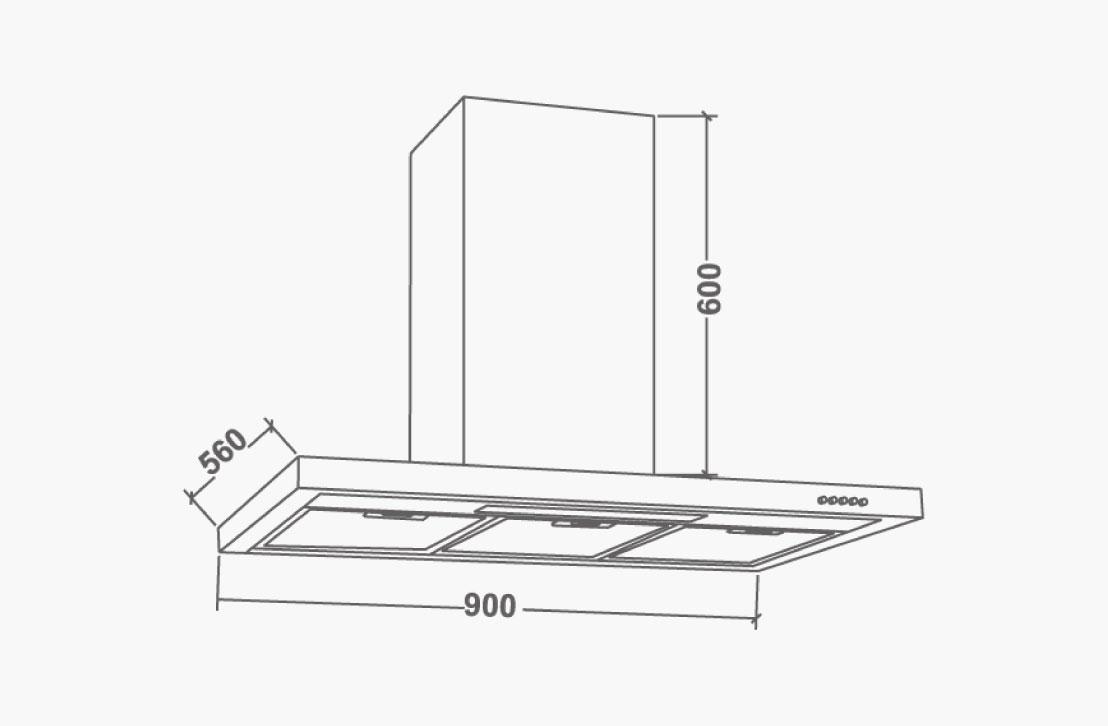 NEBEL-NERO-90-Diagram hood wall mounted nagold hafele bangalore