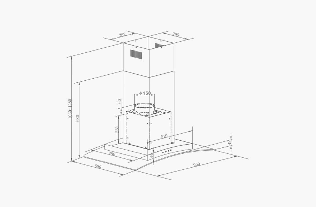 NIERS-90_Diagram hood wall mounted nagold hafele bangalore
