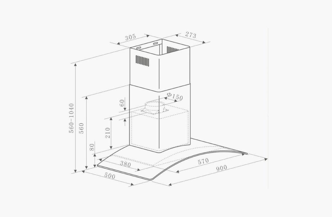curve90_Diagram hood wall mounted nagold hafele bangalore